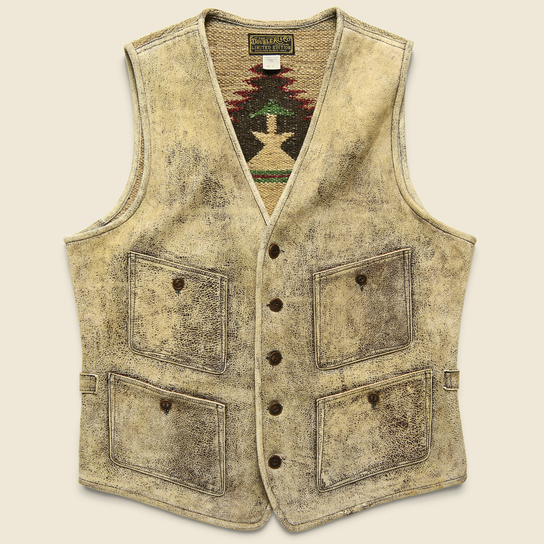 RRL Bailey Handwoven Yarn/Leather Vest - Brown