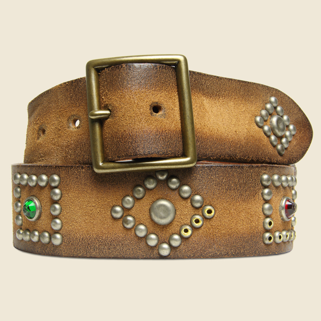 RRL Roughout Studded Suede Belt - Brown
