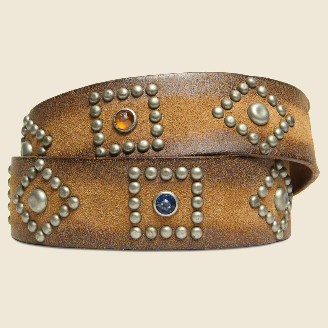 Roughout Studded Suede Belt - Brown