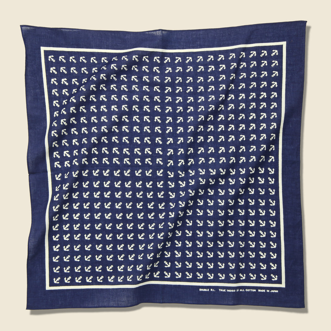 RRL Rigid Cotton Print Bandana - Indigo