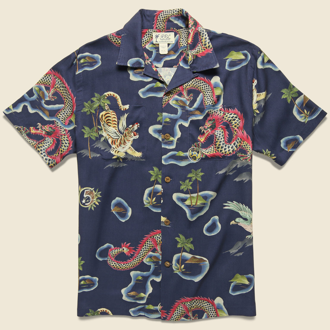 RRL Rayon Camp Shirt - Blue Multi