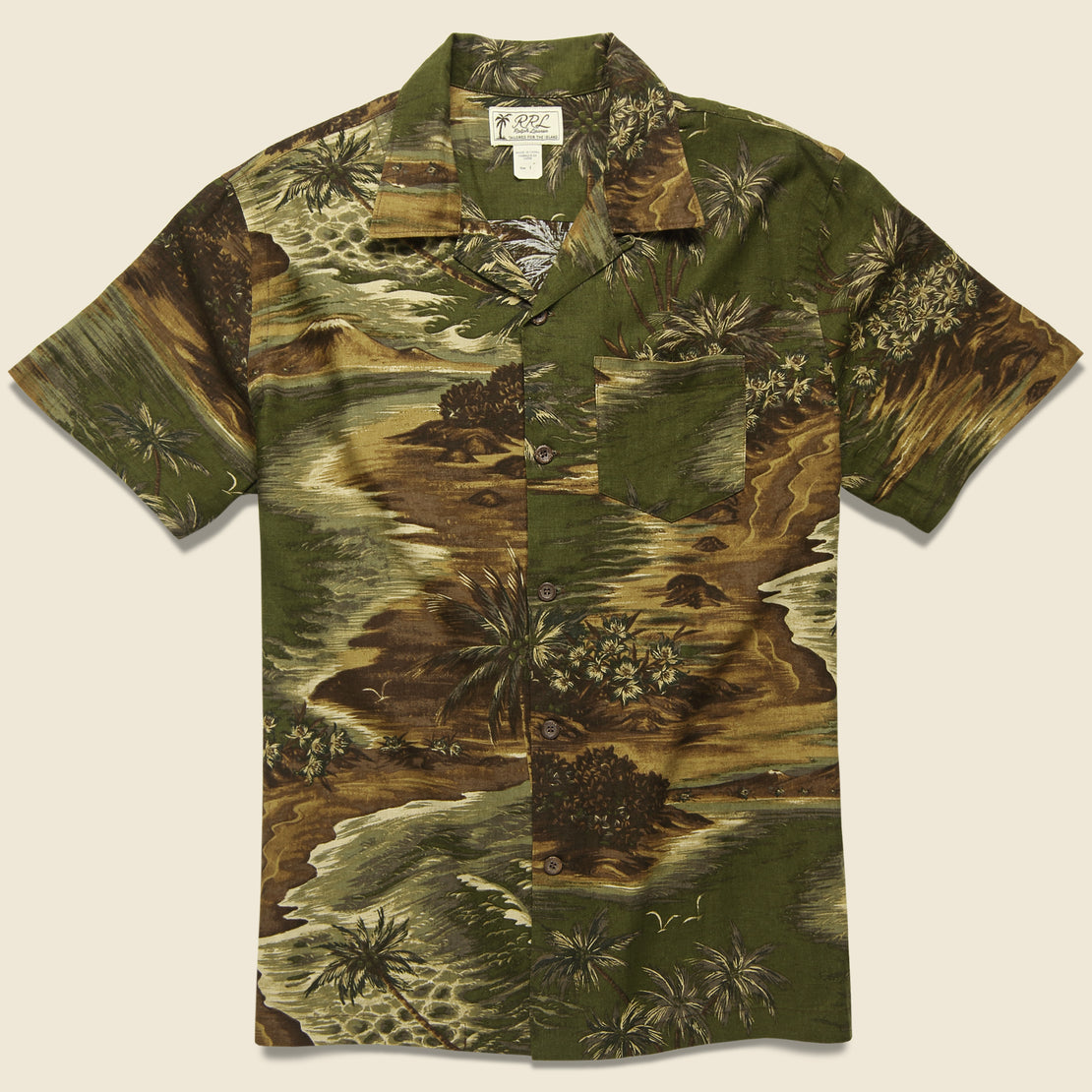 RRL Aloha Camp Shirt - Olive Multi