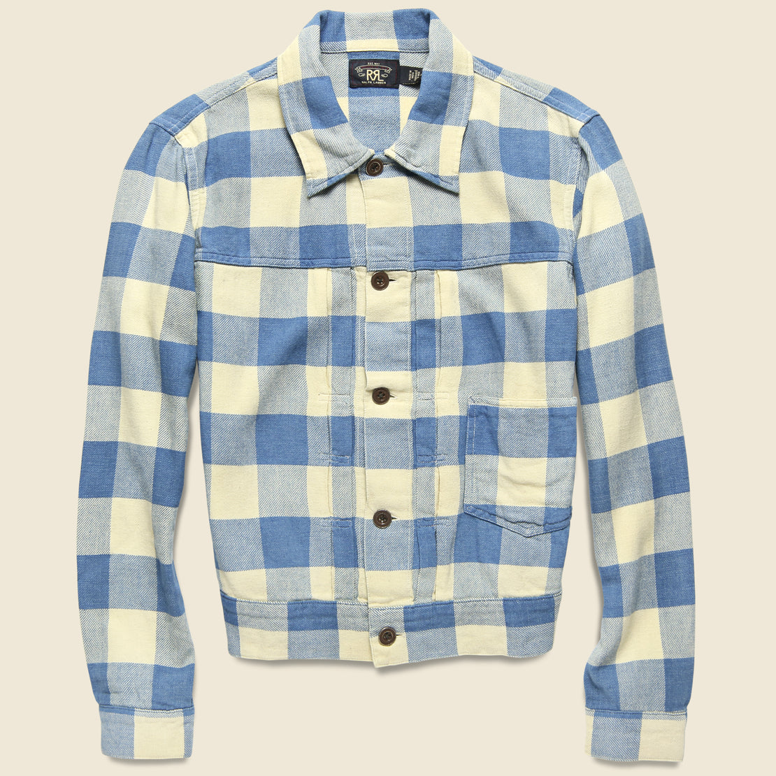 RRL Buffalo Plaid Casey Overshirt - Indigo/Cream