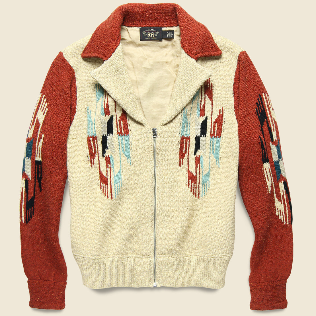 RRL Chimayo Sweater Jacket - Rust/Cream/Sky Blue