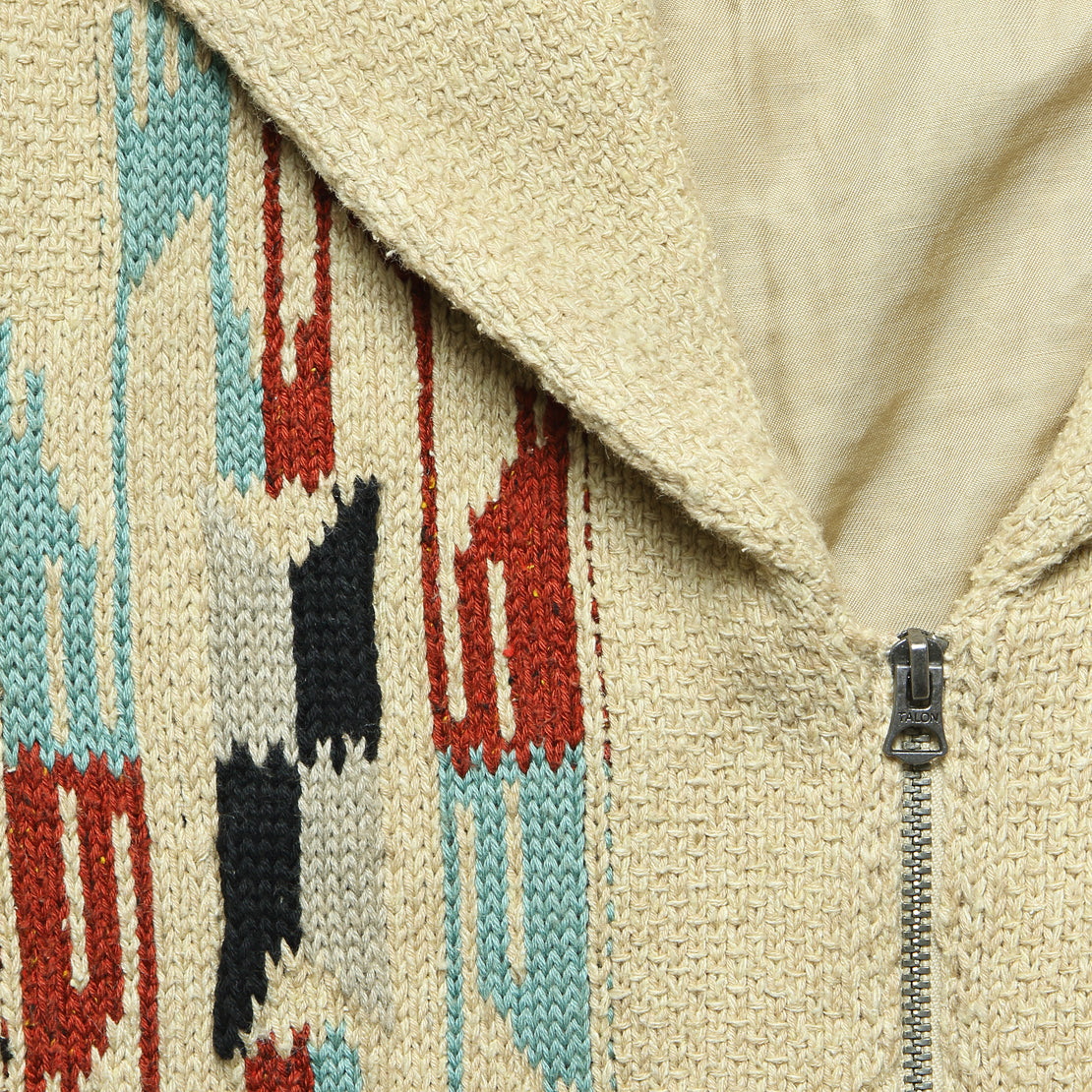 Chimayo Sweater Jacket - Rust/Cream/Sky Blue