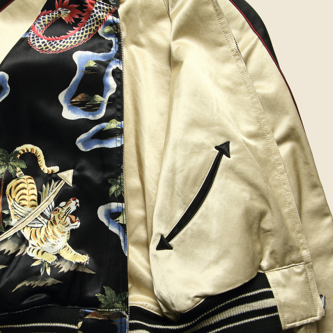 Dragon Print Tour Jacket - Black