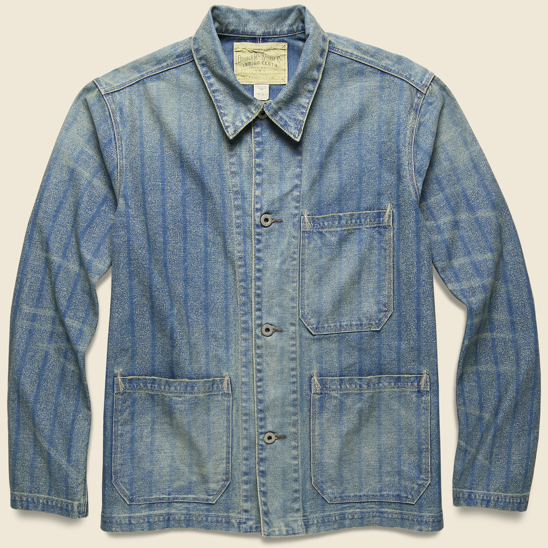 RRL Striped Indigo Twill Jacket - Indigo