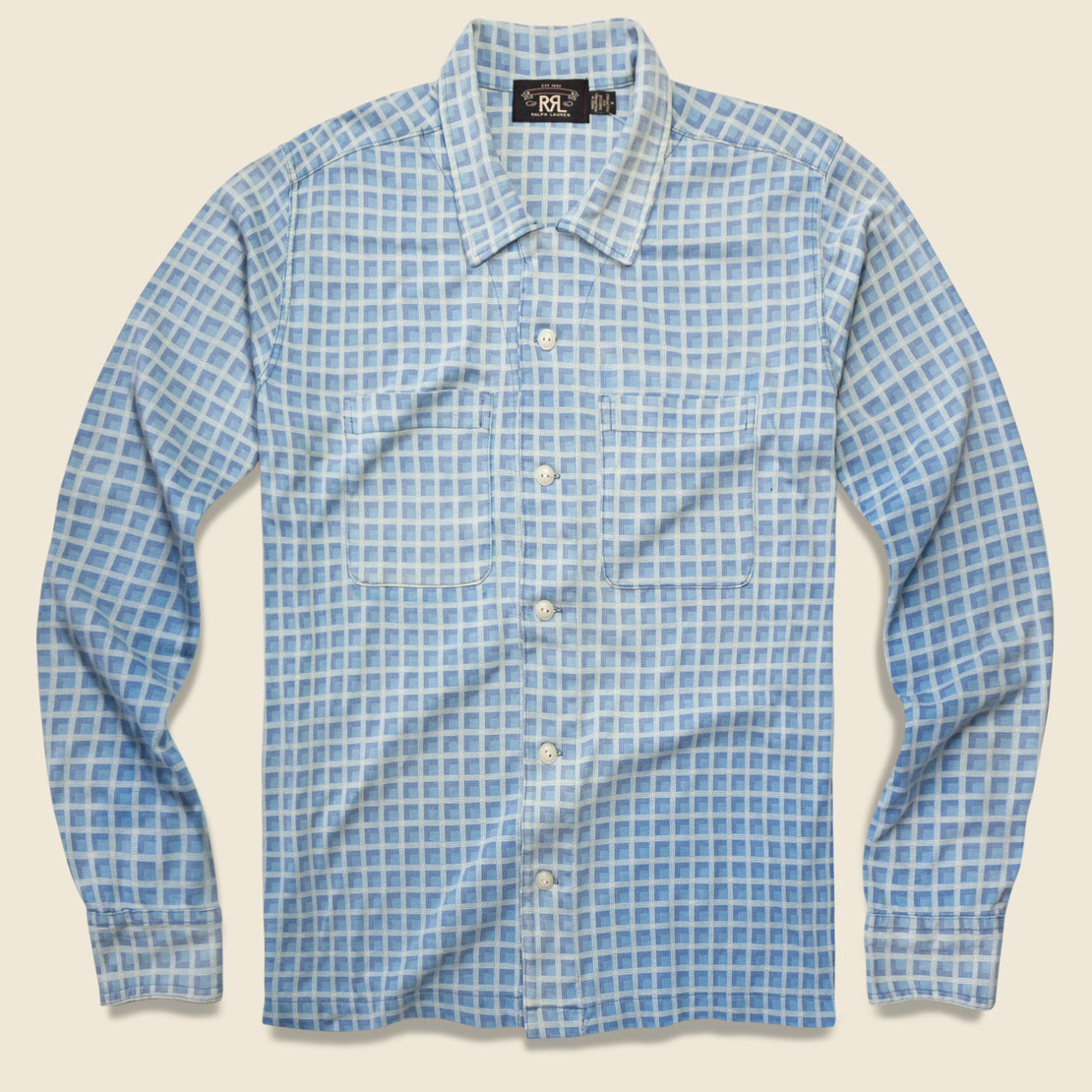 RRL Plaid-Print Jersey Camp Shirt - Indigo
