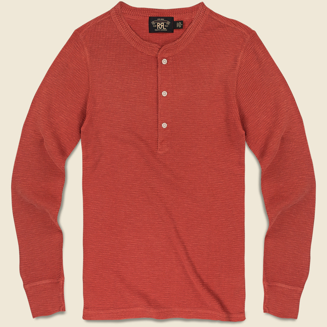 RRL Waffle-Knit Henley - Trading Post Red