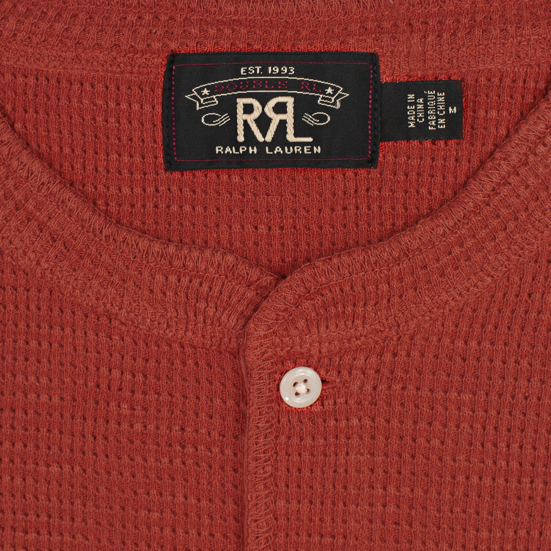 Waffle-Knit Henley - Trading Post Red