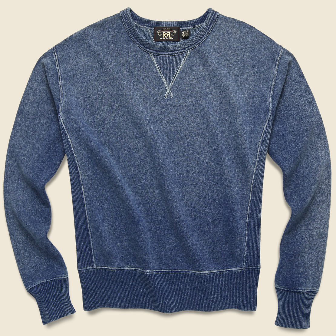 RRL Double V Crewneck Sweatshirt - Washed Blue Indigo