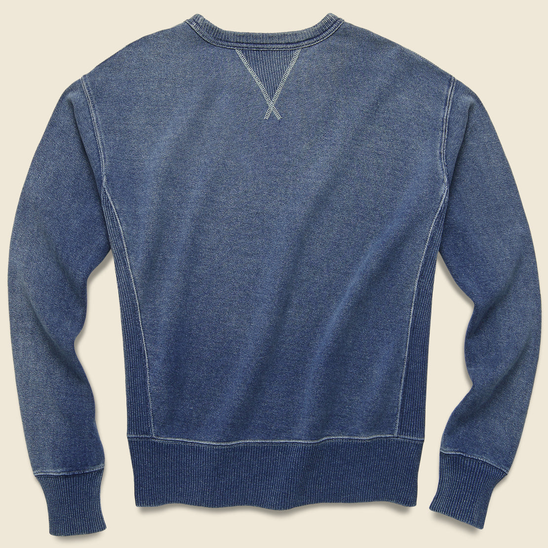 Double V Crewneck Sweatshirt - Washed Blue Indigo