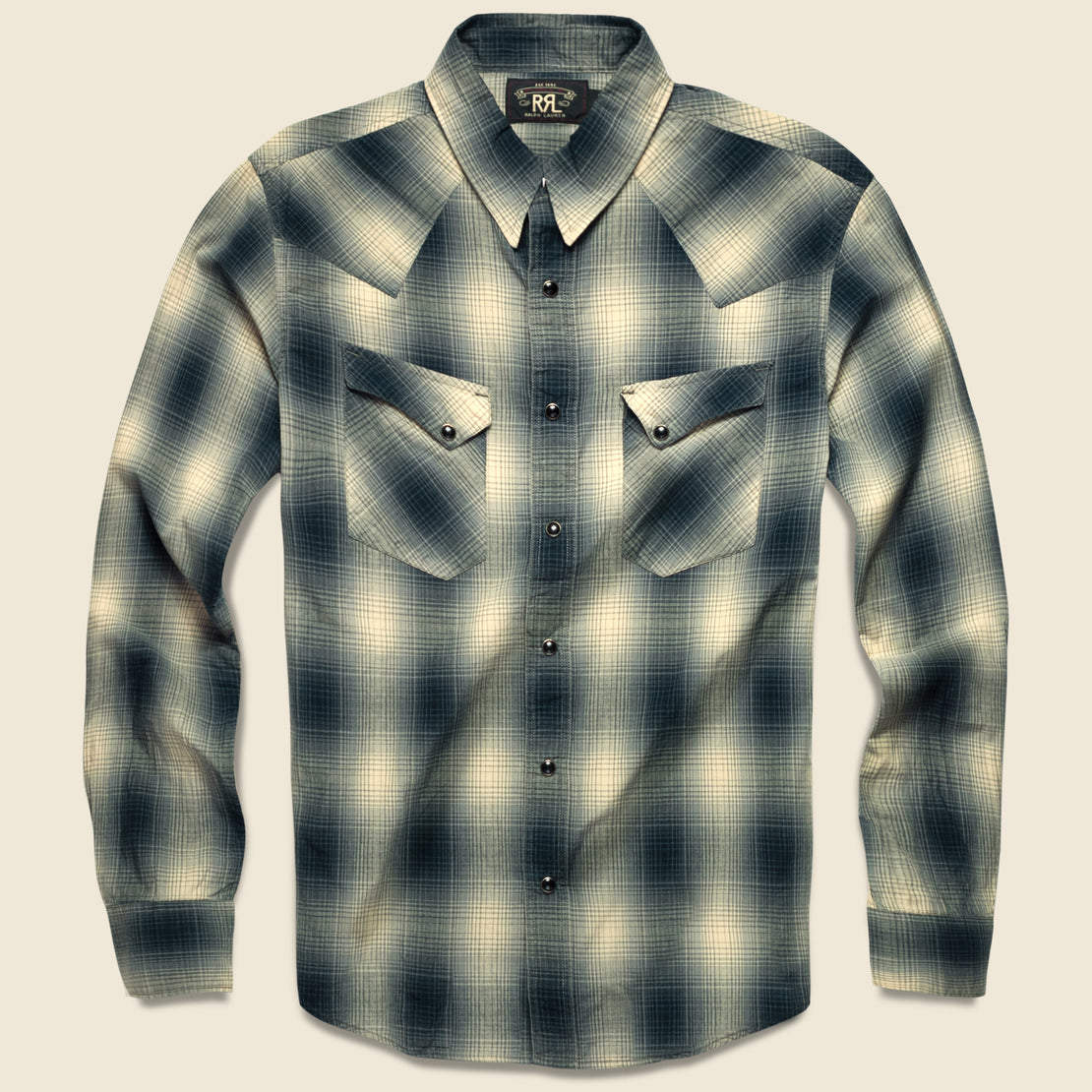 RRL Slim Fit Plaid Western - Black Ombre Plaid