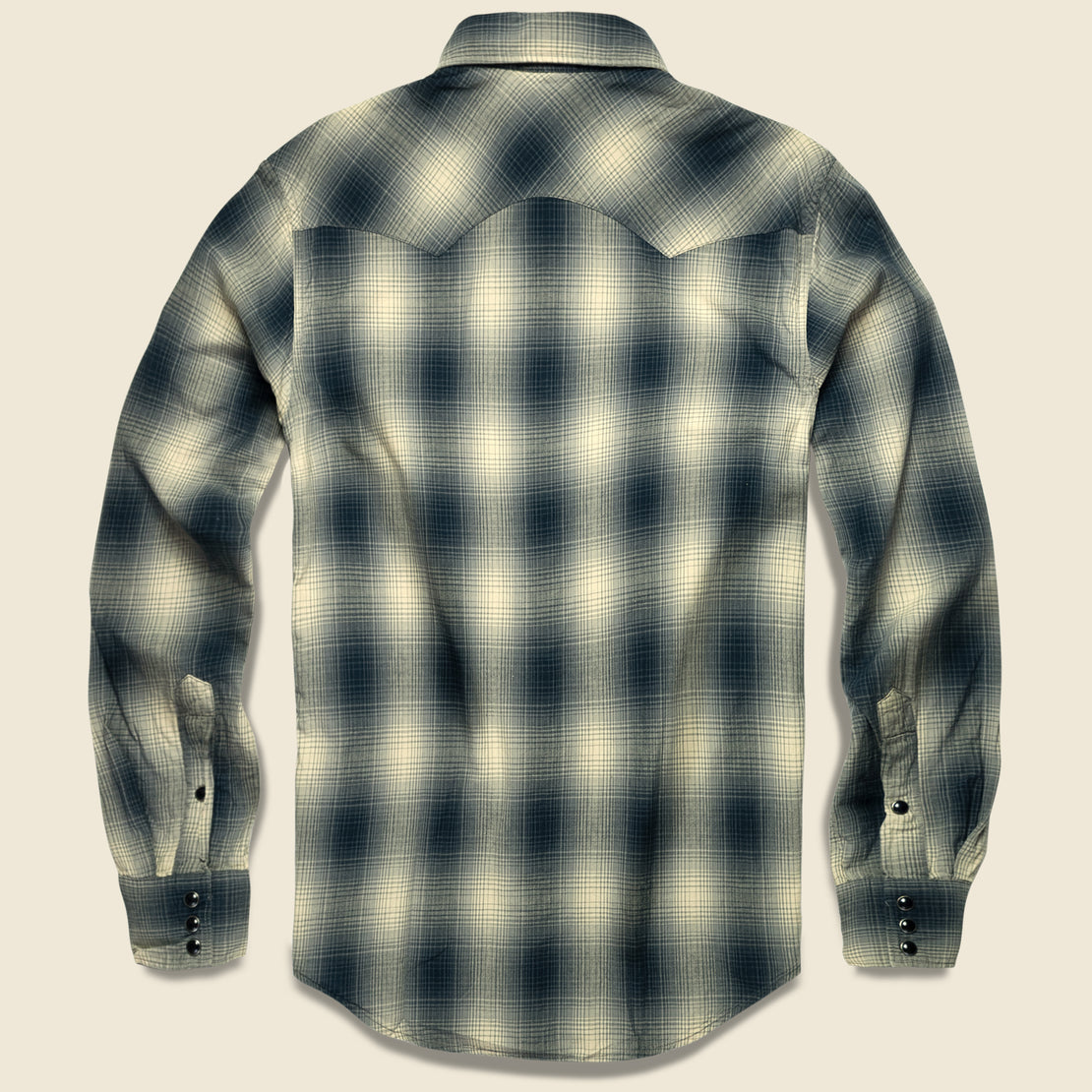 Slim Fit Plaid Western - Black Ombre Plaid