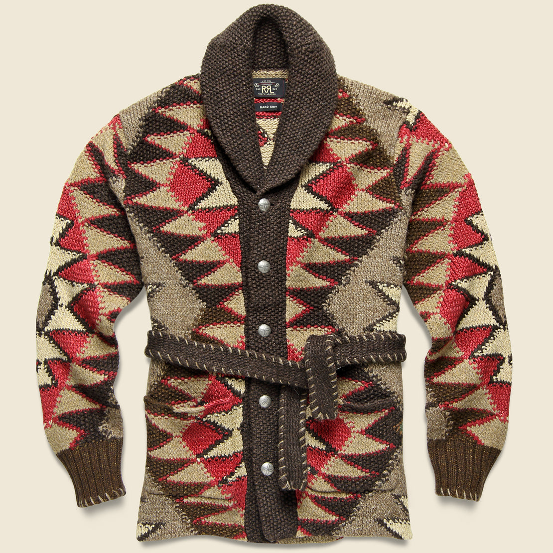 RRL Hand-Knit Ranch Cardigan - Brown