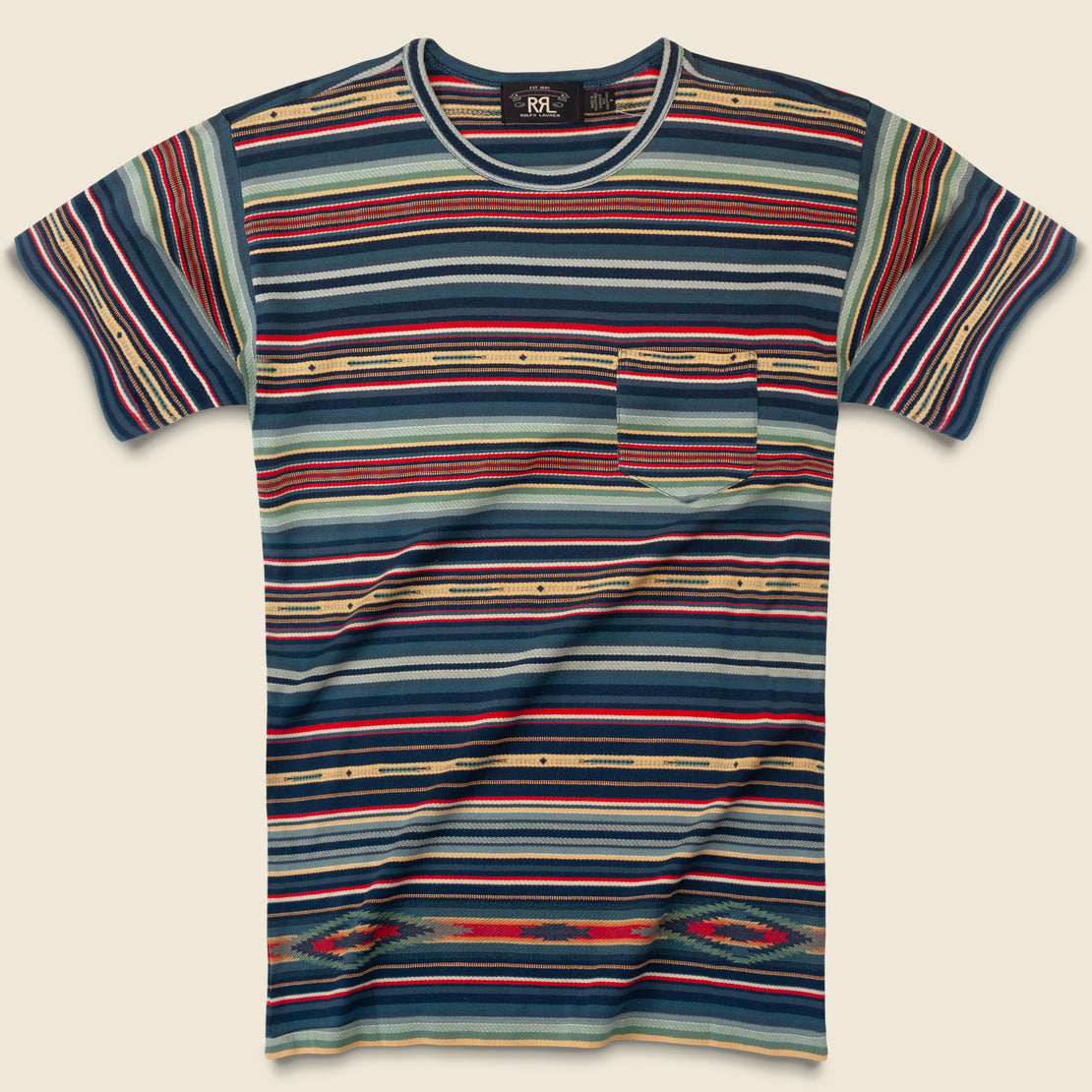 RRL Serape-Striped Pocket Tee - Indigo
