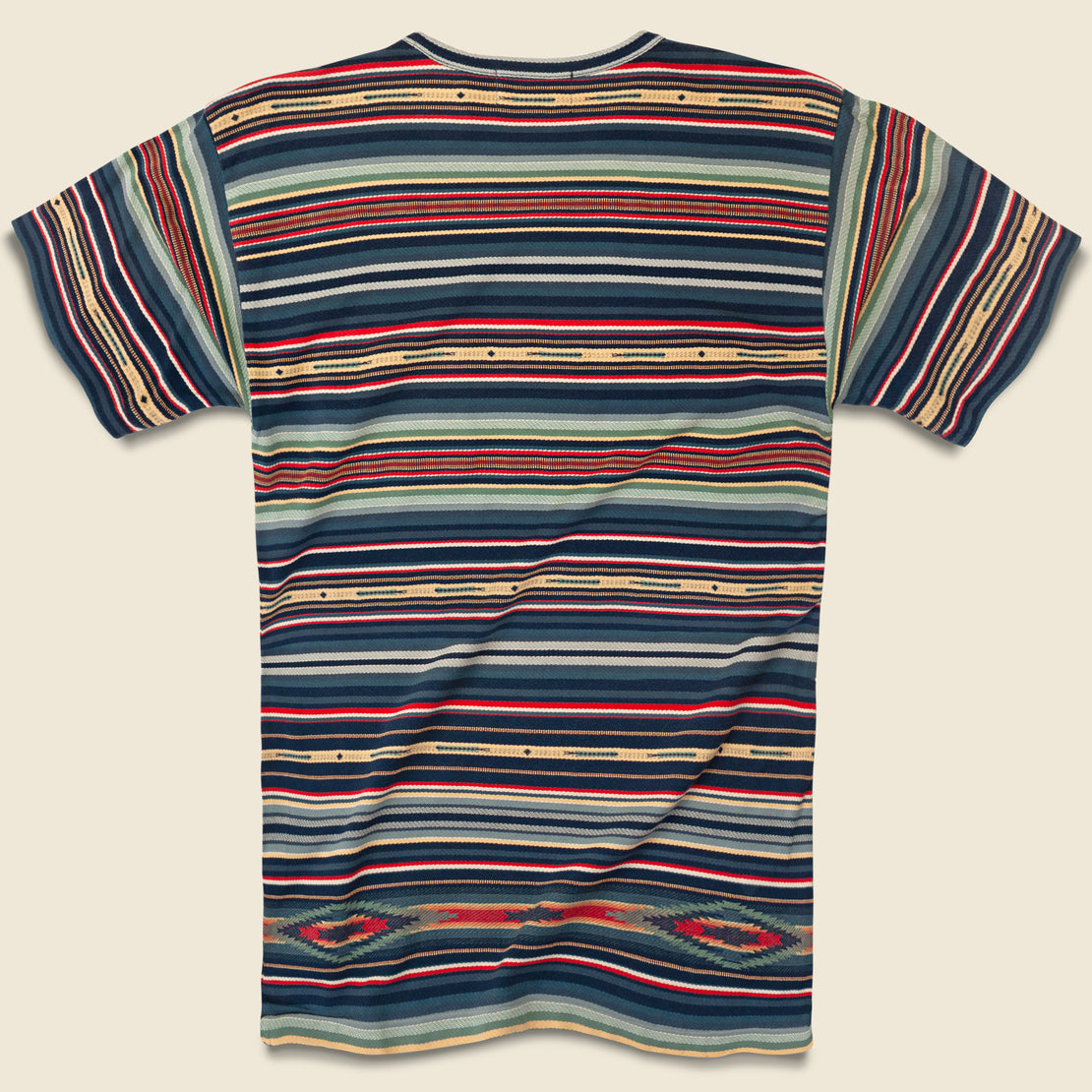 Serape-Striped Pocket Tee - Indigo