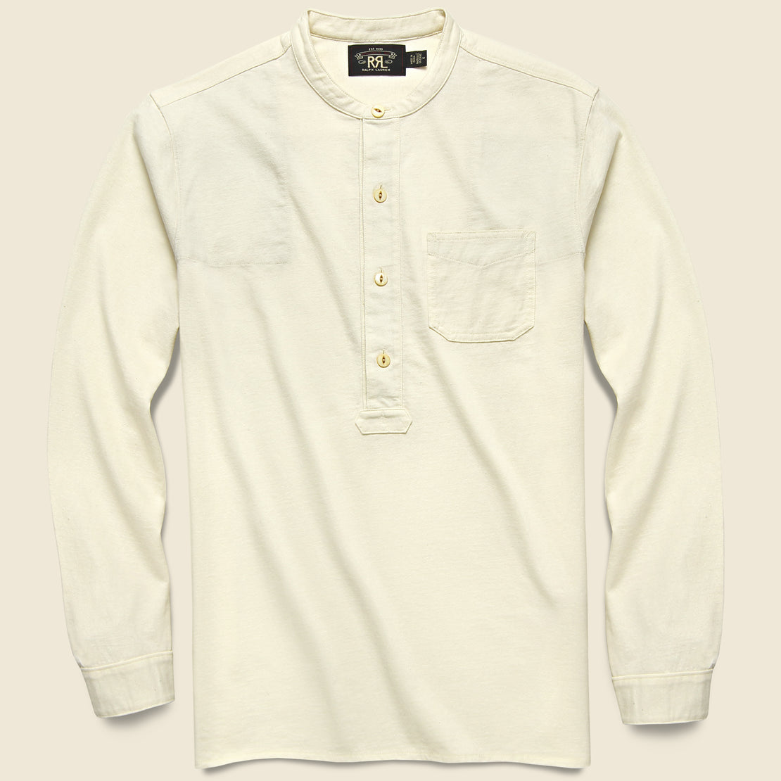 RRL Jersey Band-Collar Shirt - Natural White