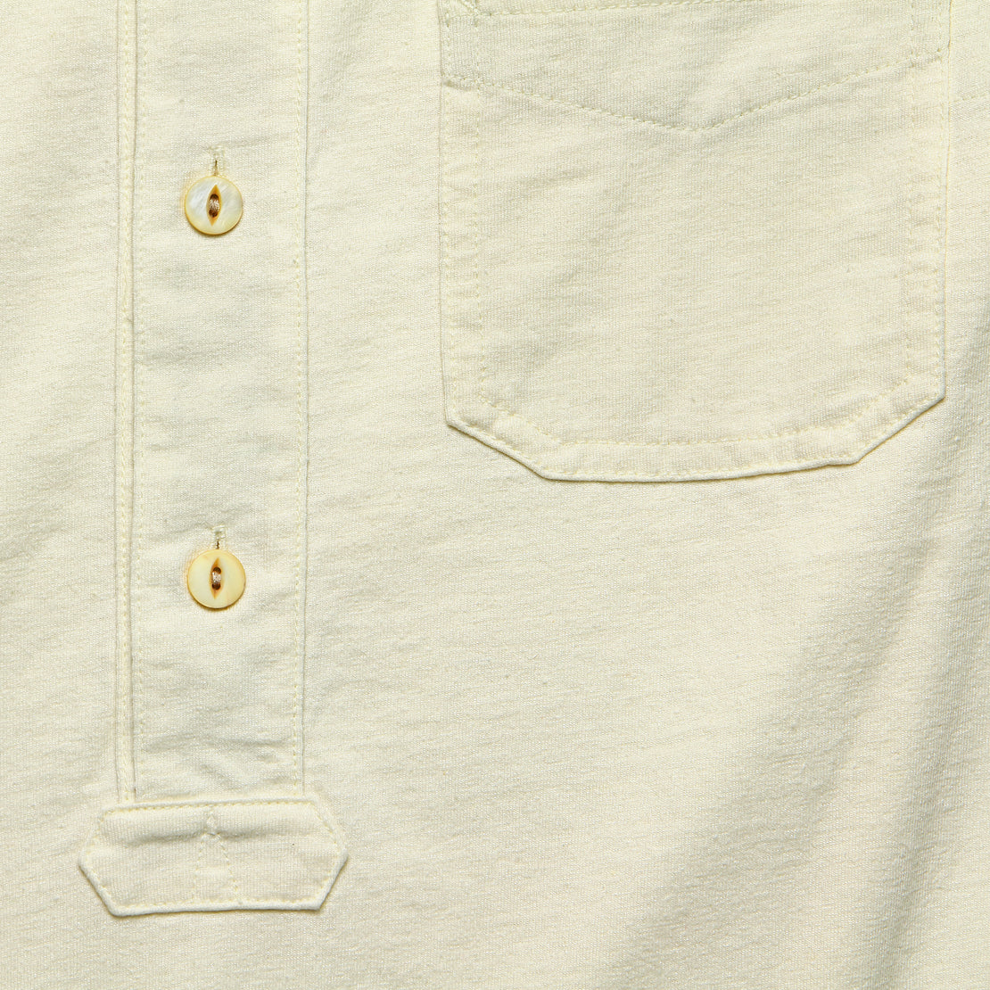 Jersey Band-Collar Shirt - Natural White