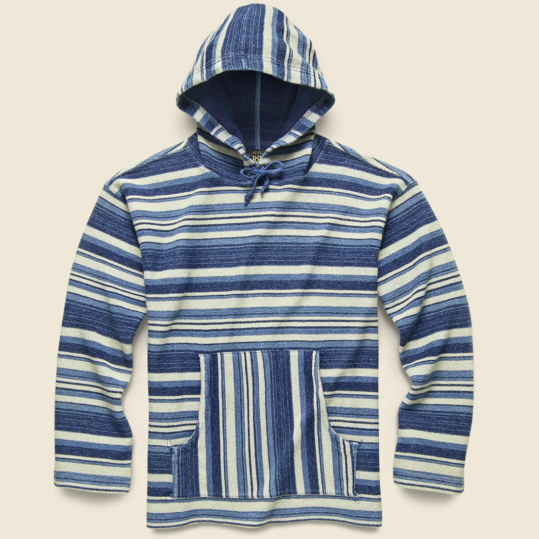 RRL French Terry Hoodie - Indigo Multi Stripe