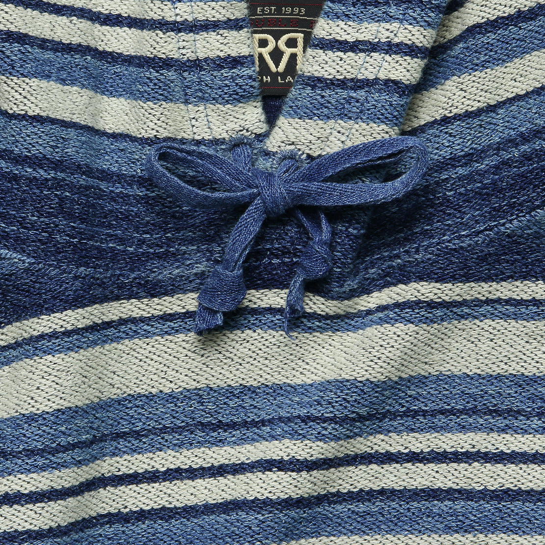 French Terry Hoodie - Indigo Multi Stripe