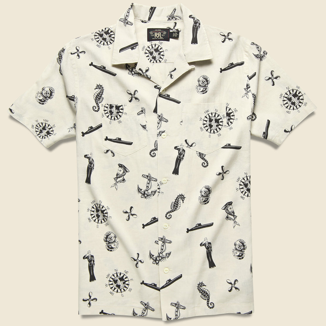 RRL Nautical-Print Camp Shirt - Cream/Black