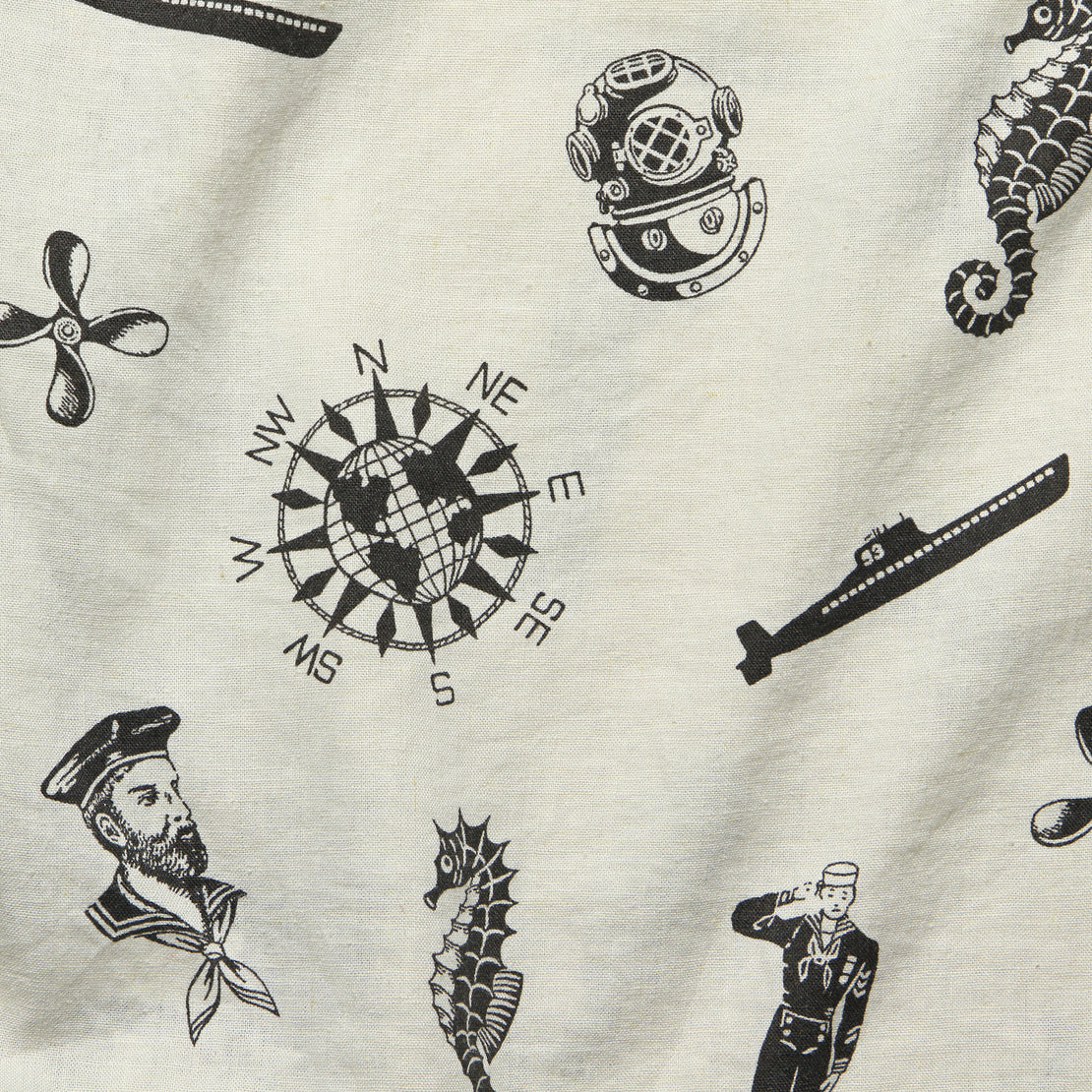 Nautical-Print Camp Shirt - Cream/Black