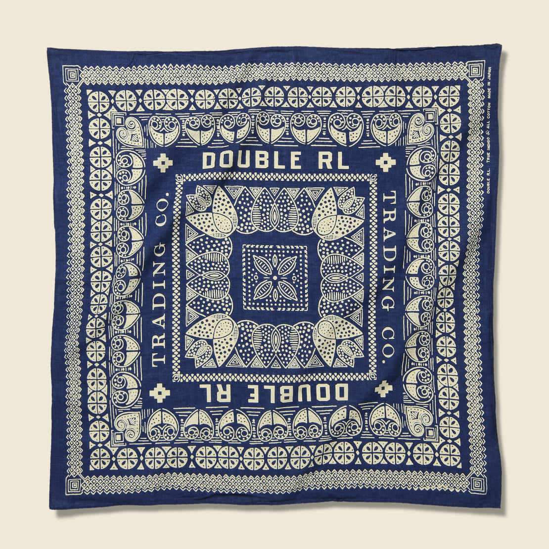 RRL Trade Post Bandana - Indigo/Cream