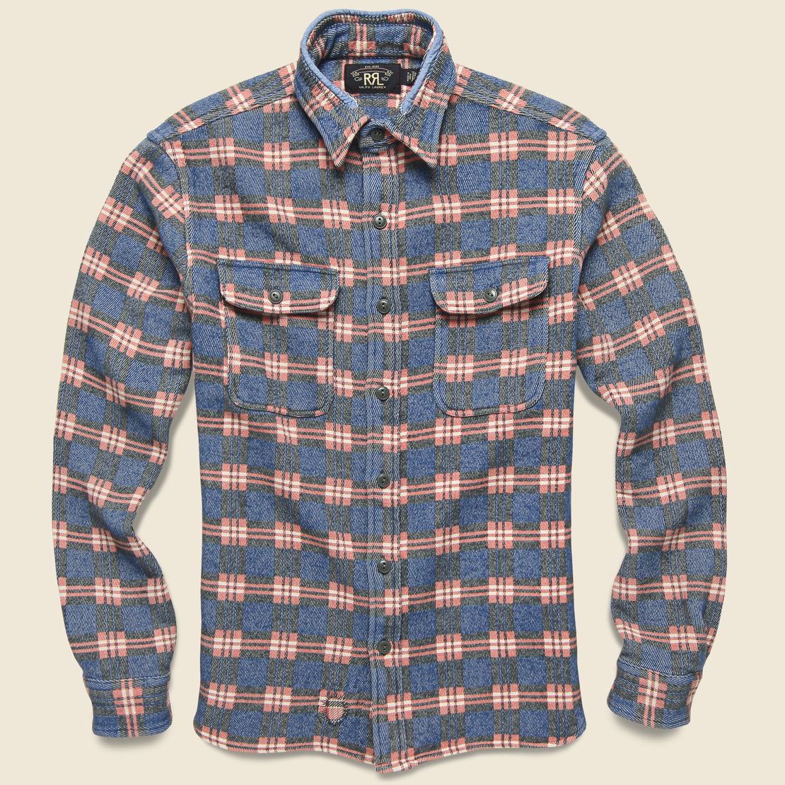 RRL Repaired Jacquard Workshirt - Blue/Red