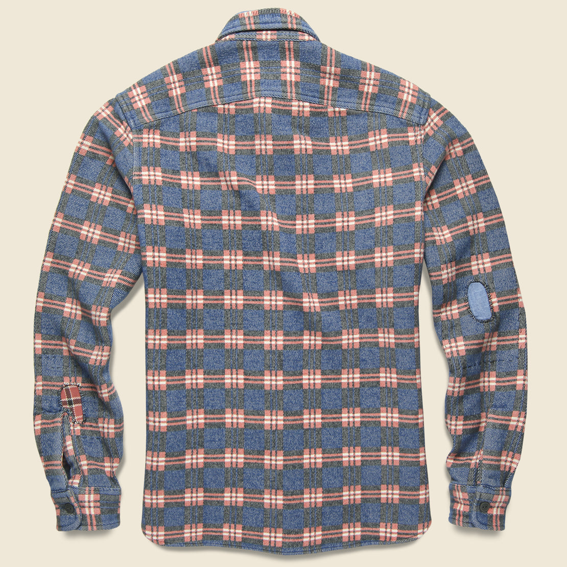 Repaired Jacquard Workshirt - Blue/Red