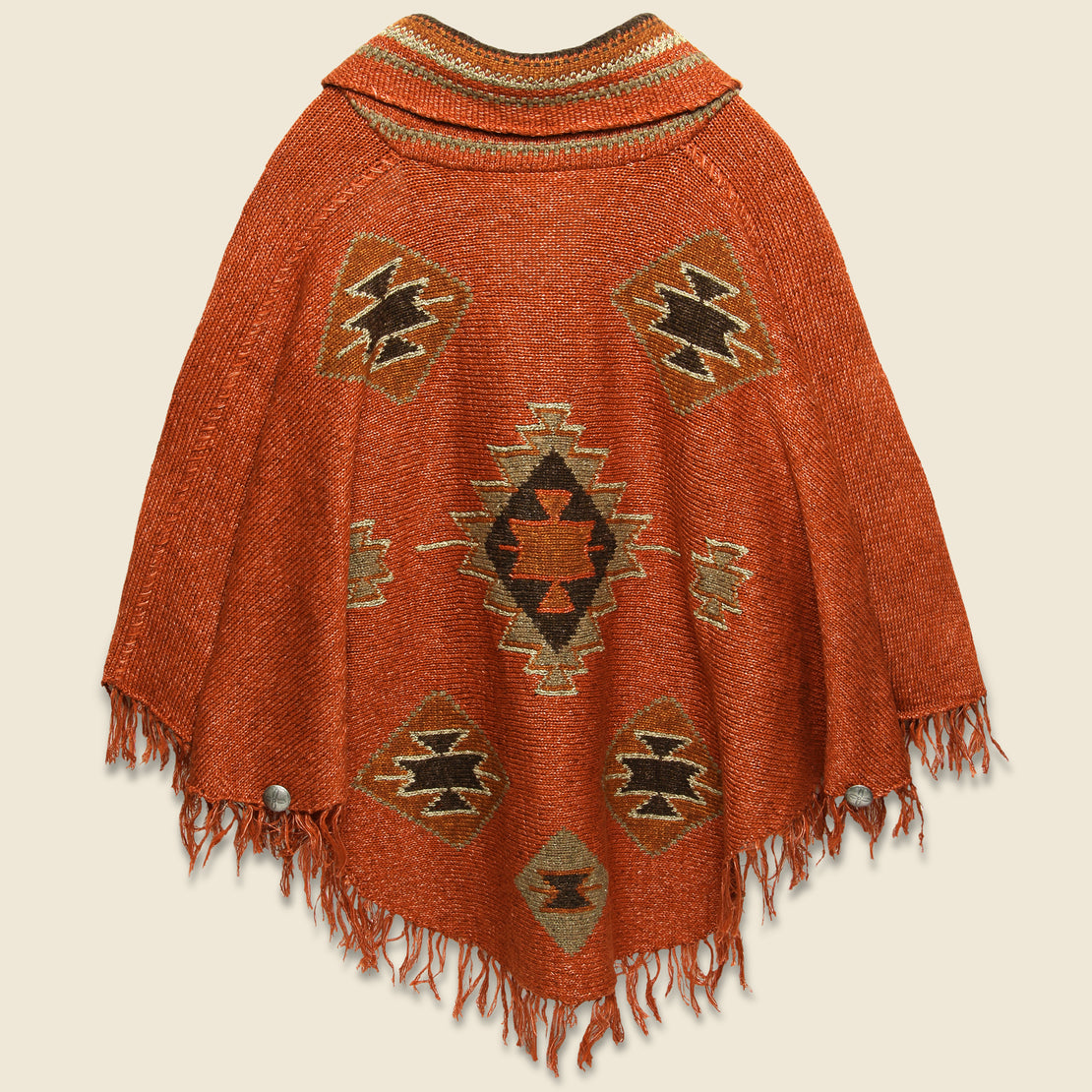 Fringe Linen-Blend Poncho - Rust/Orange