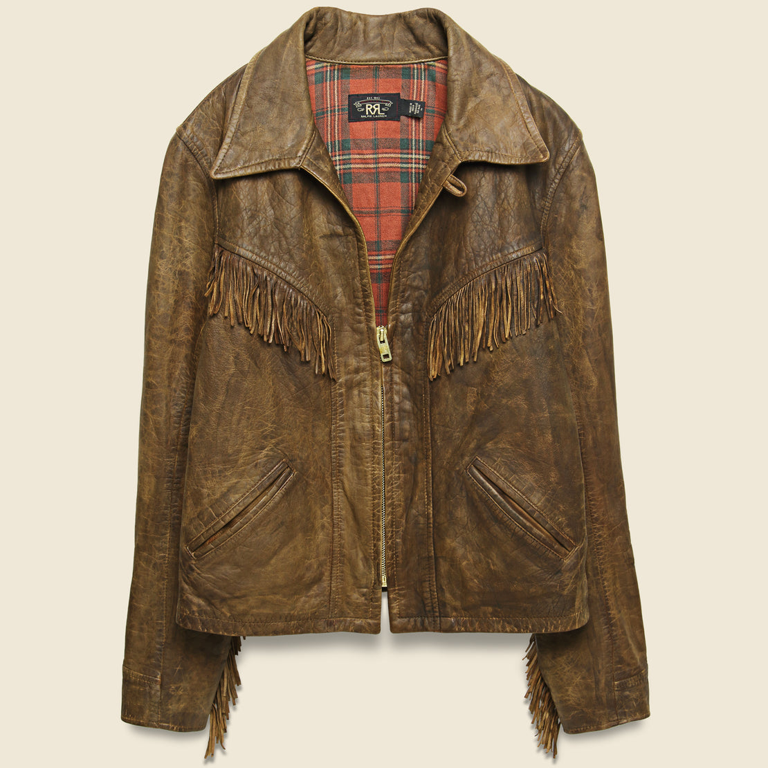 RRL Fringe Leather Cowhide Jacket - Medium Brown