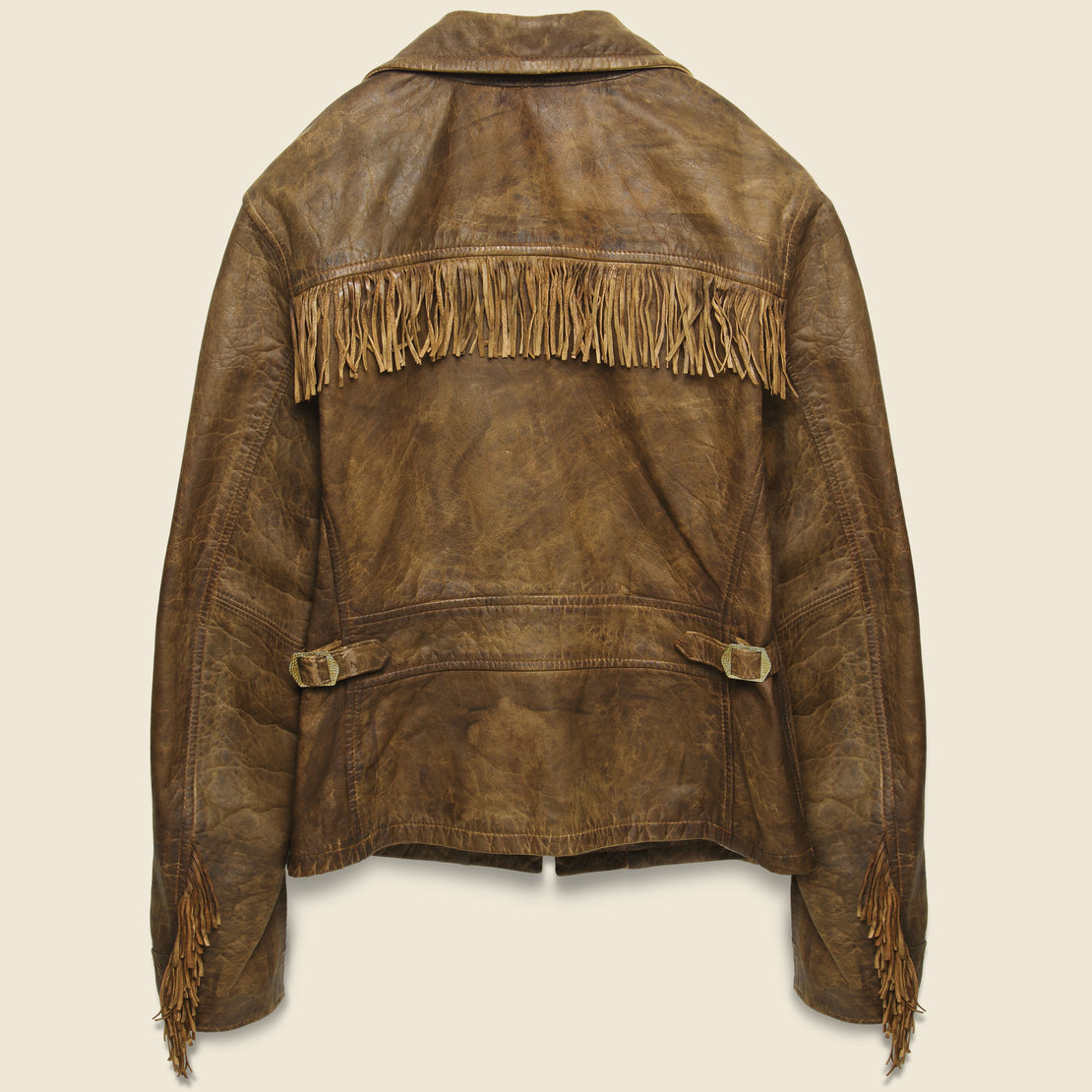 Fringe Leather Cowhide Jacket - Medium Brown