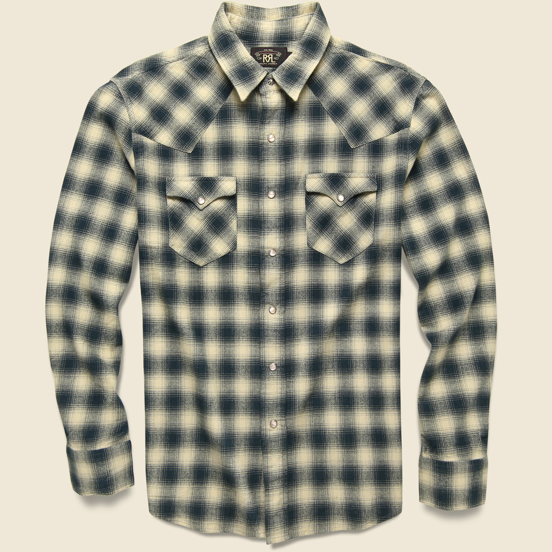 RRL Slim Fit Plaid Brushed Western Shirt - Cream/Grey