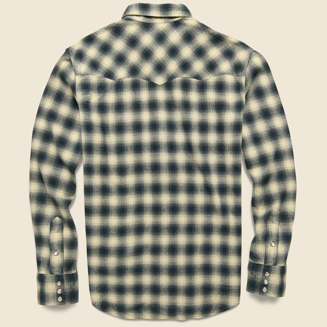 Slim Fit Plaid Brushed Western Shirt - Cream/Grey