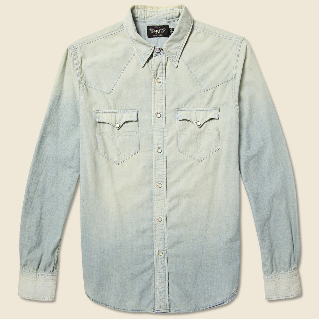 RRL Slim Chambray Buffalo Western Shirt - Light Wash