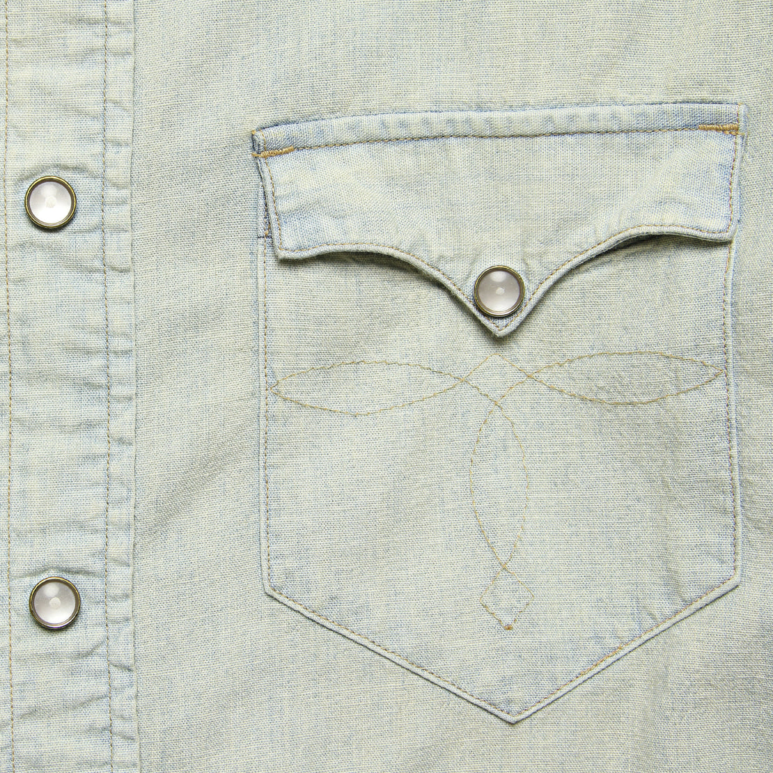 Slim Chambray Buffalo Western Shirt - Light Wash - RRL - STAG Provisions - Tops - L/S Woven - Solid
