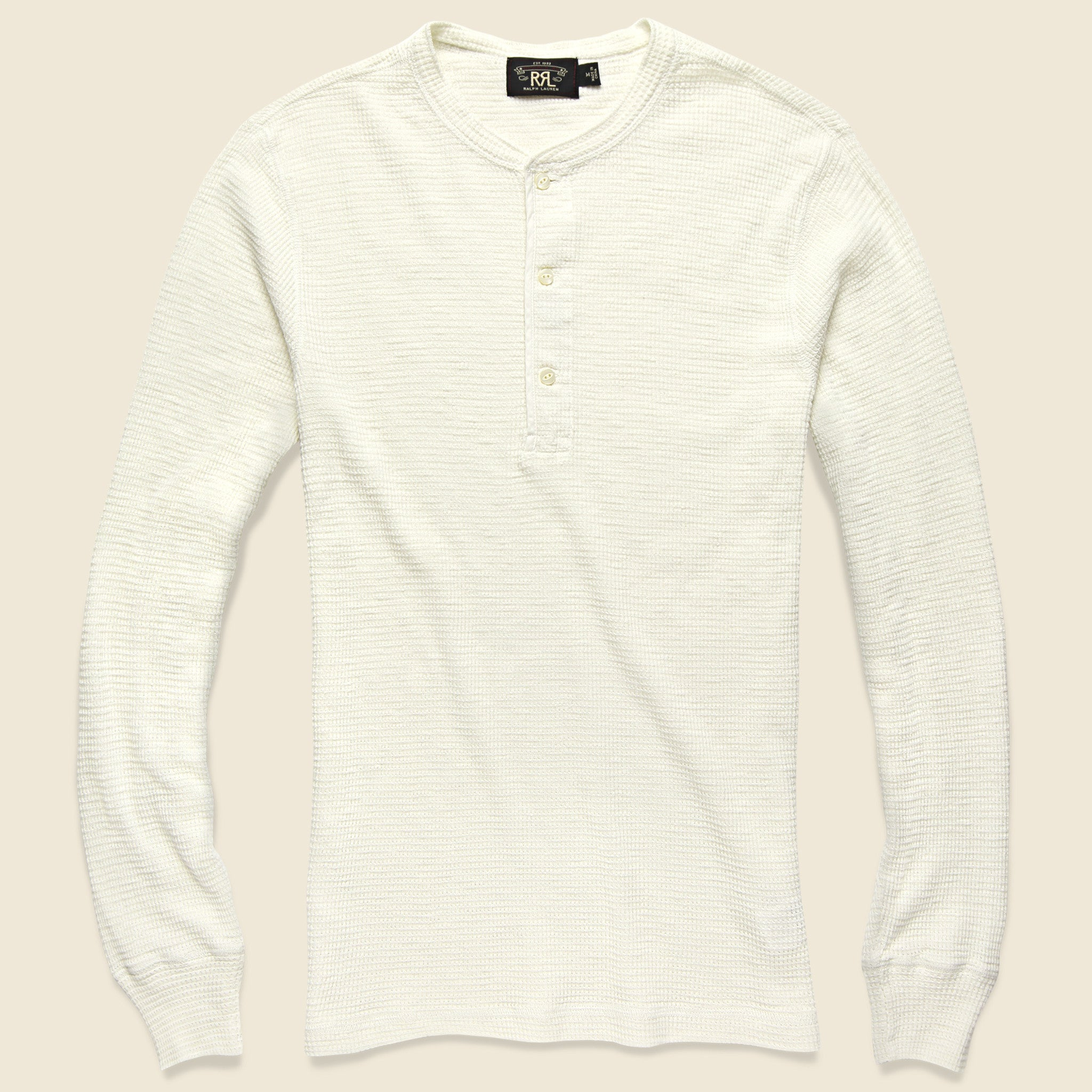 Waffle Knit Henley Paper White