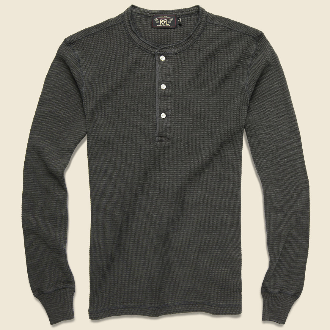 RRL Waffle Henley - Faded Black