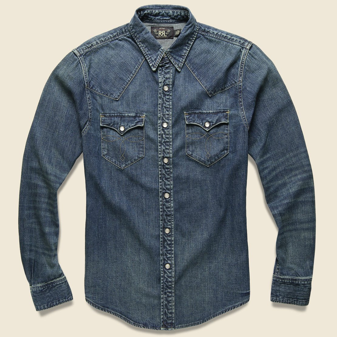 RRL Slim Fit Denim Western Shirt - Dark Wash