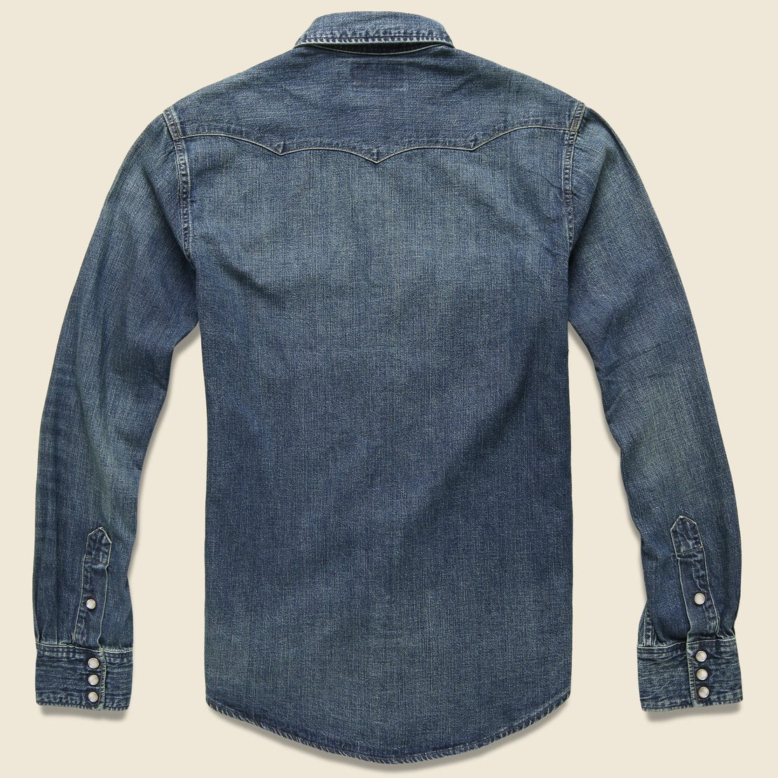 Slim Fit Denim Western Shirt - Dark Wash