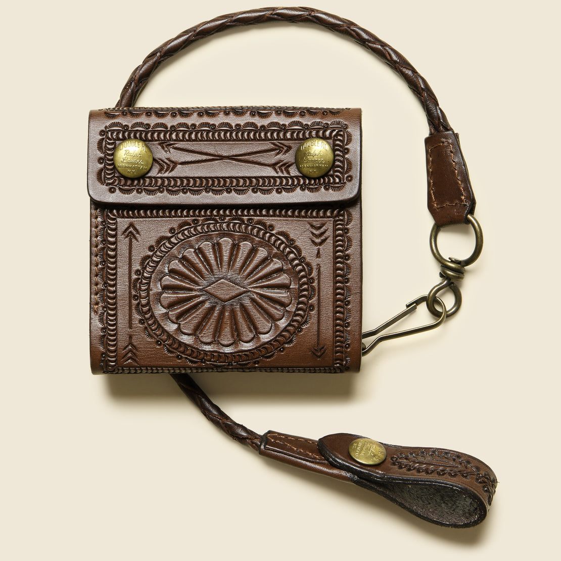 RRL Hand-Tooled Leather Rider Wallet - Saddle Brown
