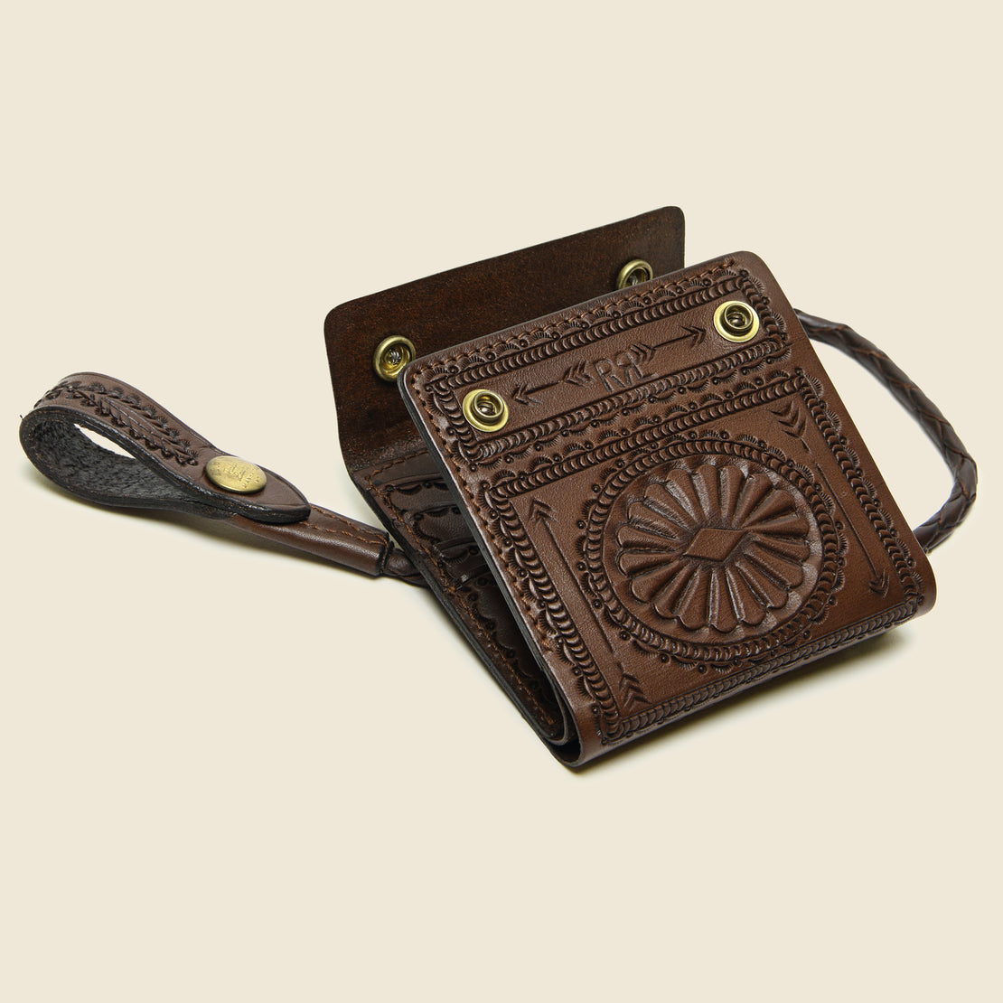 Hand-Tooled Leather Rider Wallet - Saddle Brown