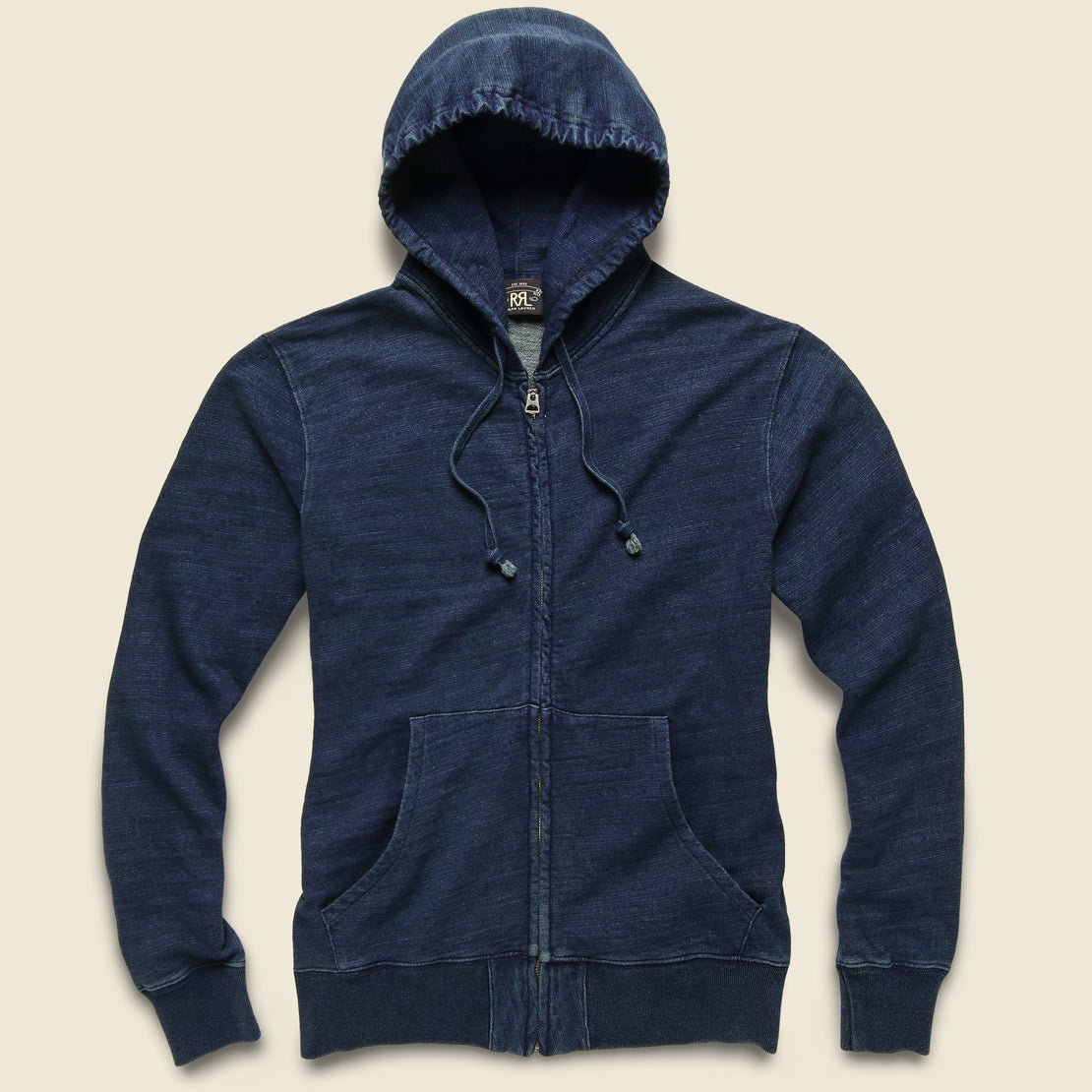 RRL French Terry Zip Hoodie - Washed Indigo
