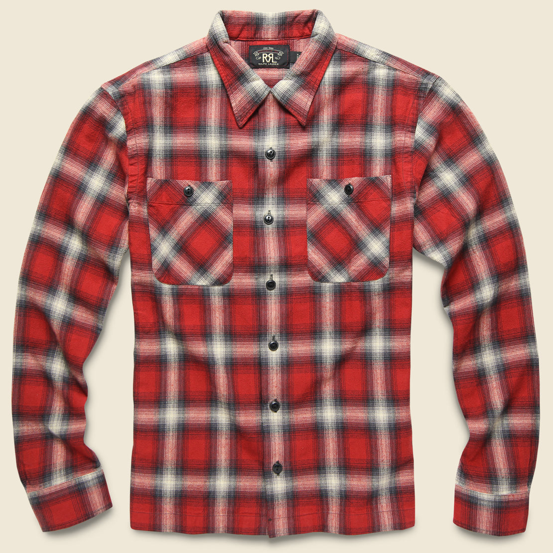 RRL Monterey Ombre Plaid Flannel - Red/Black