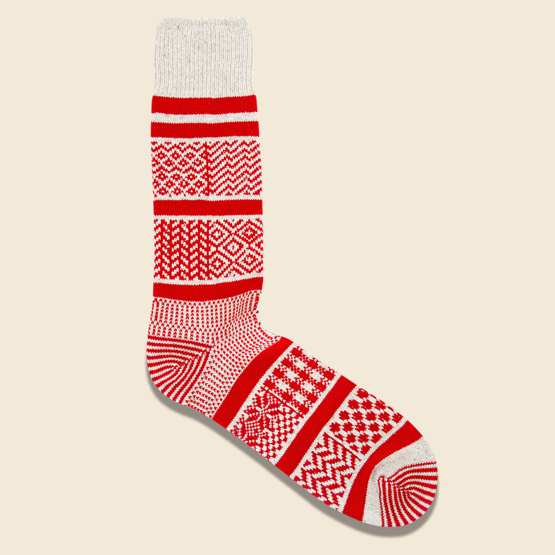 RoToTo Multi Jacquard Sock - Ivory/Red