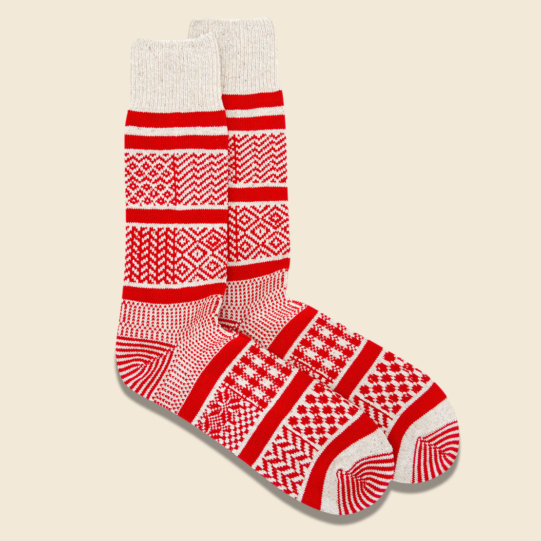 Multi Jacquard Sock - Ivory/Red