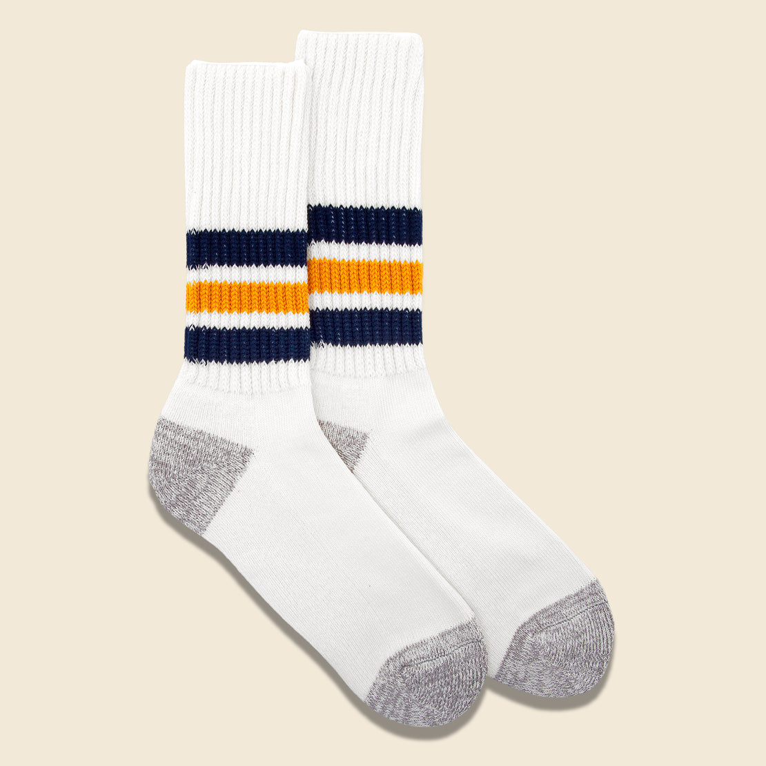 Coarse Ribbed Old School Sock - Navy/Yellow