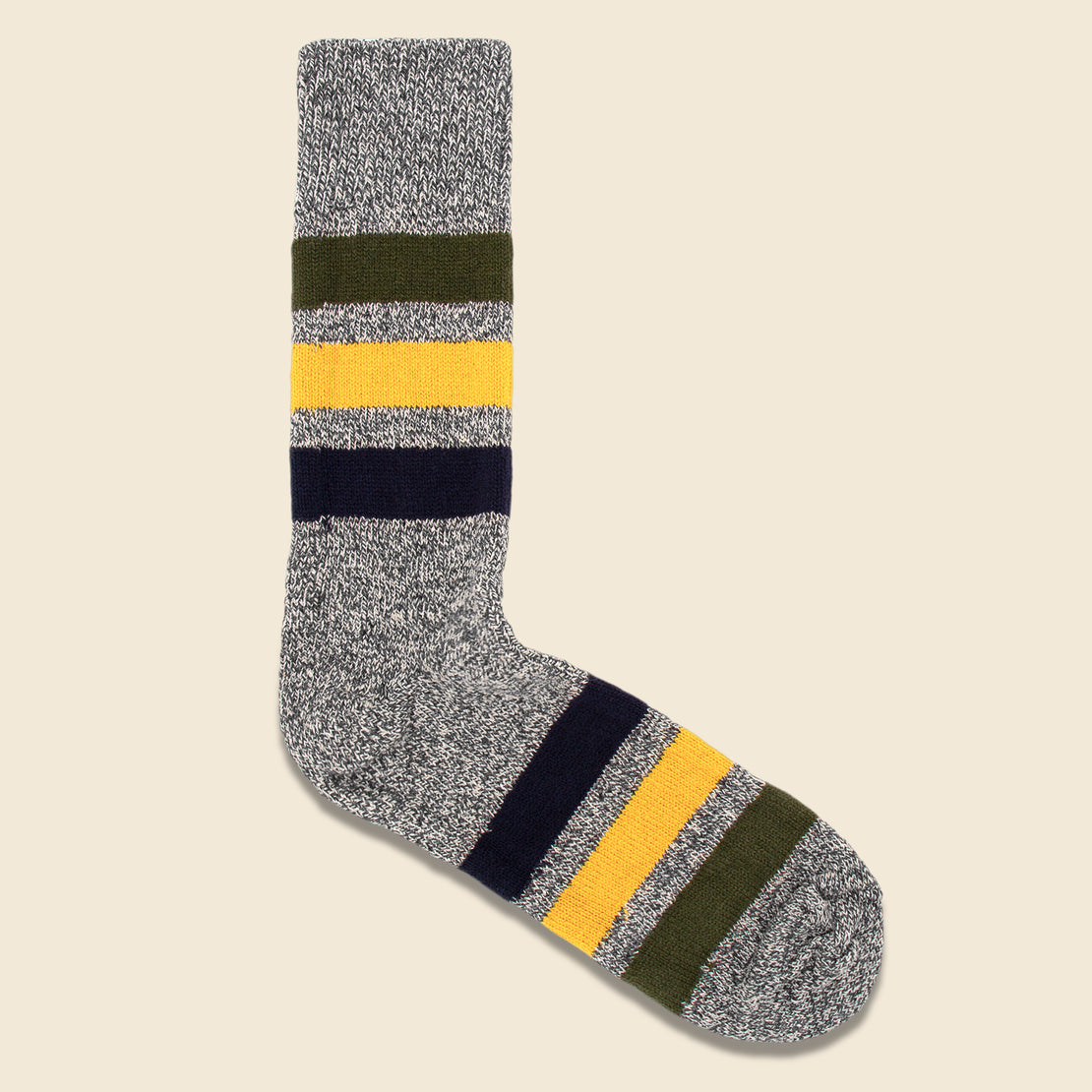 RoToTo Park Stripe Sock - Dark Grey