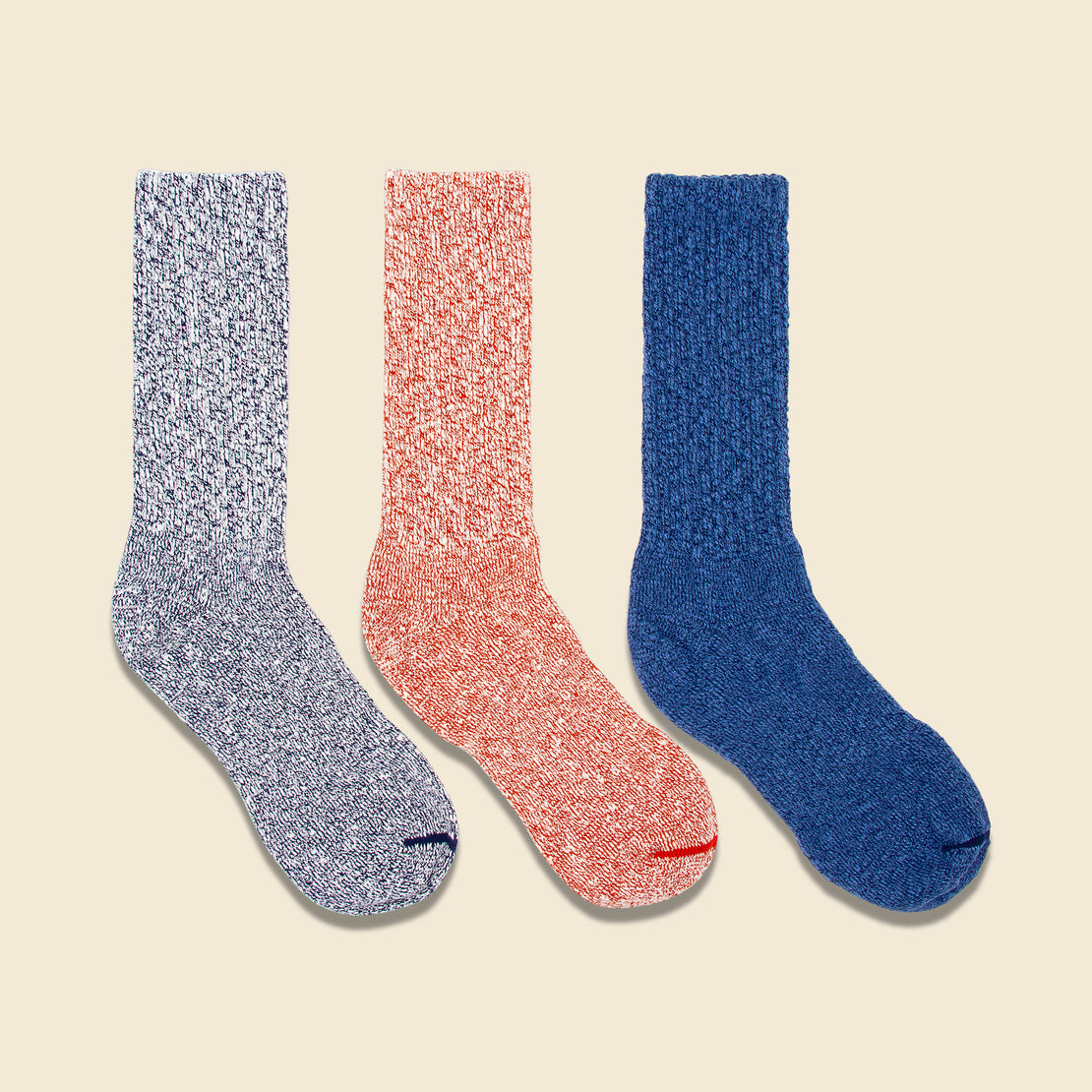 Red Wing Three-Pack Cotton Crew Rag Socks - Navy/Blue, Navy, Red